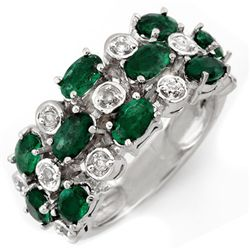 Genuine 2.20 ctw Emerald & Diamond Ring 10K White Gold