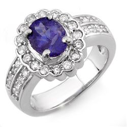 Genuine 2.60ct Tanzanite & Diamond Ring 14K White Gold