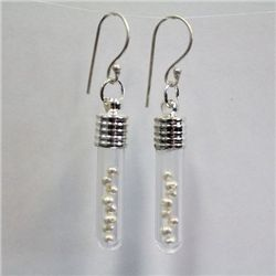 Tube Glass Earrings with Natural Pearls from South China Sea - 101PRLE