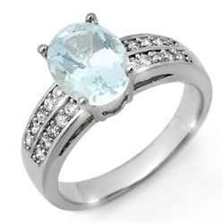 Genuine 2.75 ctw Aquamarine & Diamond Ring 14K Gold