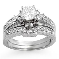 Natural 1.30 ctw Diamond Solitaire Ring 14K White Gold