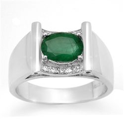 Genuine 1.83 ctw Emerald & Diamond Men's Ring 10K Gold