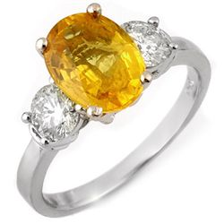Genuine 3.75 ctw Yellow Sapphire & Diamond Ring 14K White Gold