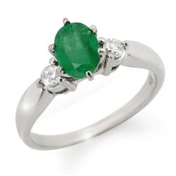 Genuine 1.20 ctw Emerald & Diamond Ring 14K White Gold