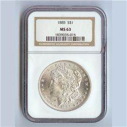 1885 Morgan Silver Dollar MS63 NGC Certified - N1885