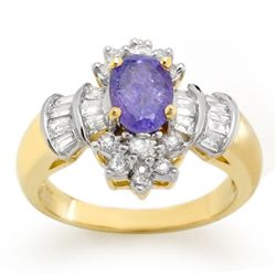 Genuine 1.76ct Tanzanite & Diamond Ring 14K Yellow Gold