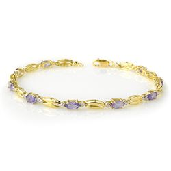 Genuine 2.50 ctw Tanzanite Bracelet 10K Yellow Gold
