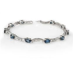 Genuine 4.25 ctw Blue Sapphire & Diamond Bracelet Gold