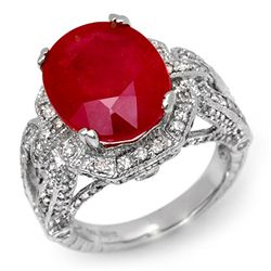 Genuine 10.5 ctw Ruby & Diamond Ring 14K White Gold