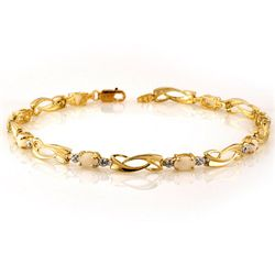 Genuine 2.02ctw Opal & Diamond Bracelet 10K Yellow Gold
