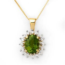 Genuine 3.55ct Green Tourmaline & Diamond Necklace Gold