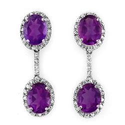 Genuine 7.10 ctw Amethyst & Diamond Earrings 10K Gold