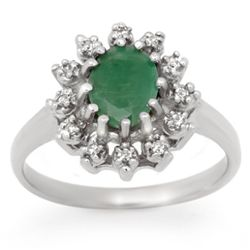 Genuine 1.46 ctw Emerald & Diamond Ring 10K White Gold