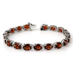 Genuine 28.0 ctw Garnet Bracelet 10K White Gold