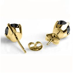 Natural 0.50 ctw Black Diamond Stud Earrings 14K Gold