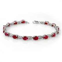 Genuine 8.40 ctw Ruby Bracelet 10K White Gold