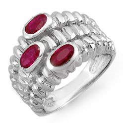 Genuine 1.25 ctw Ruby Ladies Ring 10K White Gold