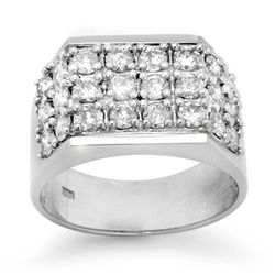Natural 2.0 ctw Diamond Men's Ring 14K White Gold
