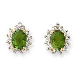 Genuine 3.75ct Green Tourmaline & Diamond Earrings Gold