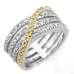 Natural 0.80 ctw Diamond Ring 10K Multi tone Gold