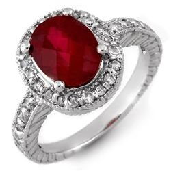 Genuine 3.40ctw Rubellite & Diamond Ring 14K White Gold