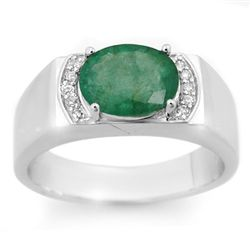 Genuine 2.10 ctw Emerald & Diamond Men's Ring 10K Gold