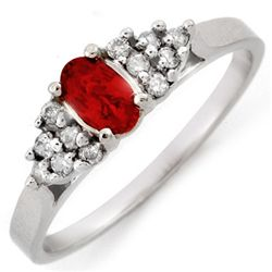 Genuine 0.50 ctw Red Sapphire & Diamond Ring 10K Gold