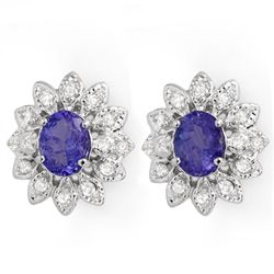 Genuine 3.7 ctw Tanzanite & Diamond Earrings 14K Gold