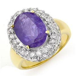Genuine 5.40ct Tanzanite & Diamond Ring 14K Yellow Gold