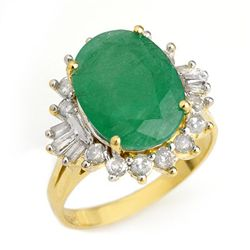 Genuine 5.98 ctw Emerald & Diamond Ring 14K Yellow Gold