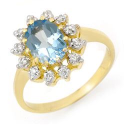 Genuine 1.51 ctw Blue Topaz & Diamond Ring Yellow Gold