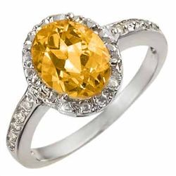 Genuine 2.10 ctw Citrine & Diamond Ring 10K White Gold