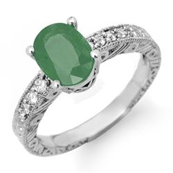 Genuine 2.56 ctw Emerald & Diamond Ring 14K White Gold