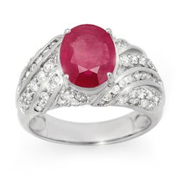 Genuine 7.25 ctw Ruby & Diamond Men's Ring 14K Gold