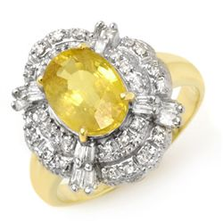 Genuine 3.05ctw Yellow Sapphire & Diamond Ring 14K Yellow Gold