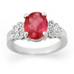 Genuine 3.85ctw Rubellite & Diamond Ring 14K White Gold
