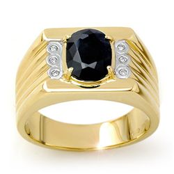 Genuine 3.76 ctw Sapphire & Diamond Men's Ring 10K Gold