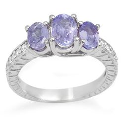 Genuine 2.50ctw Tanzanite & Diamond Ring 10K White Gold