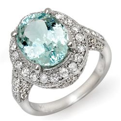 Genuine 4.5 ctw Aquamarine & Diamond Ring 14K Gold
