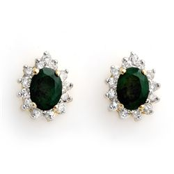 Genuine 3.85 ctw Emerald & Diamond Earrings Yellow Gold