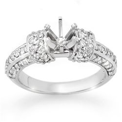 Natural 0.75 ctw Diamond Semi-mount Ring 14K White Gold