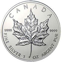 BRILLIANT UNCIRCULATED 1oz Sillver Canadian Maple Leaf - Random Date