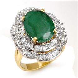 Genuine 7.04 ctw Emerald & Diamond Ring 14K Yellow Gold