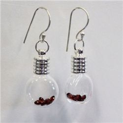 Cognac Glass Earrings with 2ct Natural Garnet from Africa - 106GARE