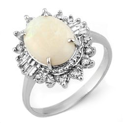 Genuine 3.45 ctw Opal & Diamond Ring 10K White Gold
