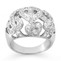 Natural 0.85 ctw Diamond Ring 10K White Gold