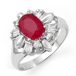 Genuine 2.45 ctw Ruby & Diamond Ring 10K White Gold