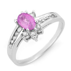 Genuine 1.05 ctw Pink Sapphire & Diamond Ring 14K White Gold