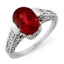 Genuine 2.75ctw Rubellite & Diamond Ring 14K White Gold