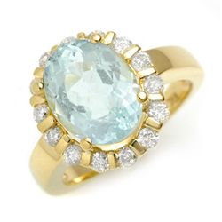 Genuine 4.65 ctw Aquamarine & Diamond Ring 10K Gold